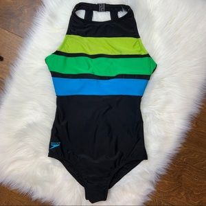 Speedo one piece swimsuit.